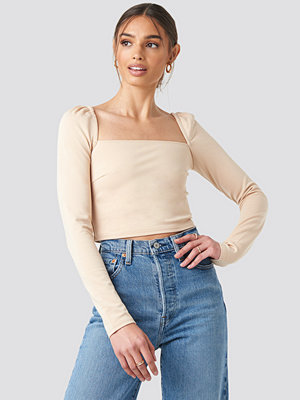 NA-KD Trend Puff Shoulder Bodycon Top beige
