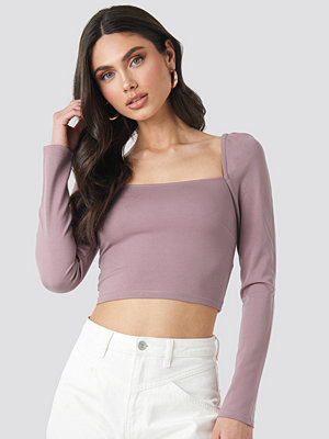 NA-KD Trend Puff Shoulder Bodycon Top lila