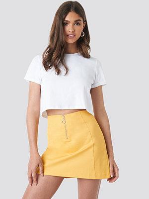 NA-KD Ring Puller A-Line Mini Skirt gul