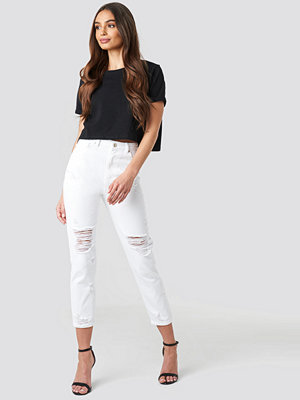 Trendyol Ripped Knees High Waist Mom Jeans vit