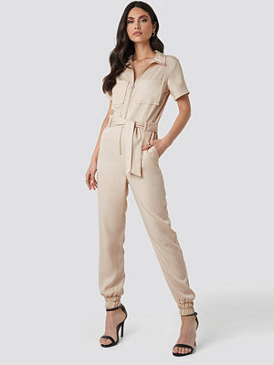 Jumpsuits & playsuits - NA-KD Tencel Cargo Jumpsuit beige