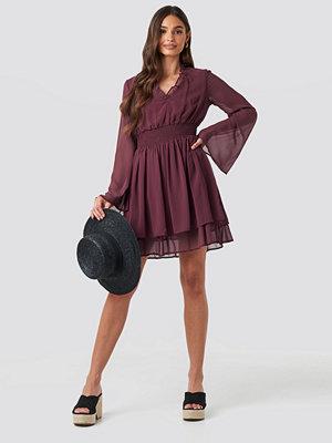NA-KD Boho Shirred Waist Detail Dress lila