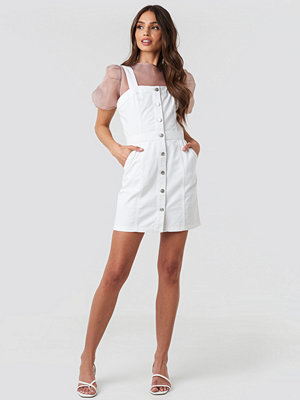 NA-KD Pinafore Mini Denim Dress vit