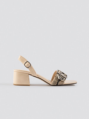 NA-KD Shoes Snake Detail Buckle Sandals beige