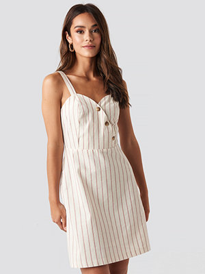 NA-KD Boho Striped Linen-Blend Mini Dress beige
