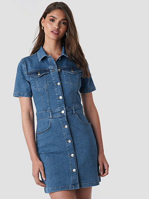 NA-KD Button Up Mini Denim Dress blå