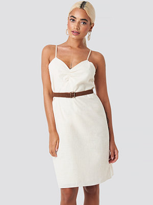 Trendyol Strap Linen Mini Dress vit