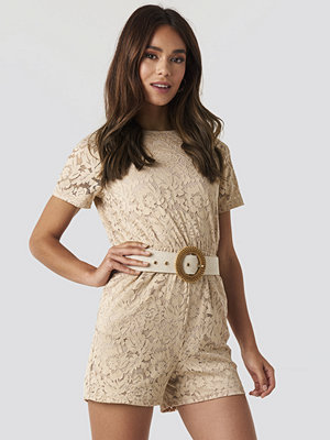Jumpsuits & playsuits - NA-KD Boho Elastic Waist Lace Playsuit beige
