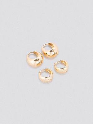 NA-KD Accessories smycke Oval Short Hoop Earrings (Double Pack) guld