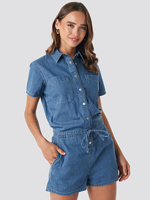 NA-KD Utility Denim Playsuit blå