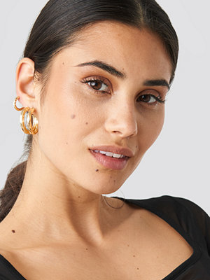 NA-KD Accessories smycke 3-Pack Structured Hoop Earrings guld