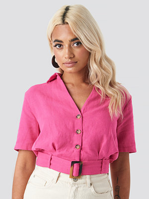 Trendyol Belt Detailed Linen Shirt rosa