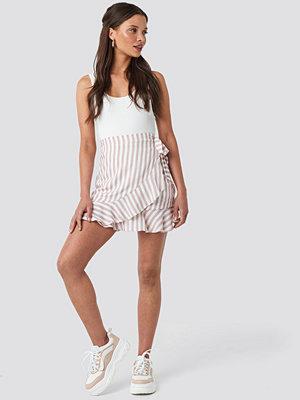 Rut & Circle Stripe Wrap Skirt nude