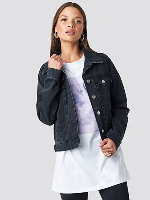 NA-KD Regular Fit Denim Jacket svart