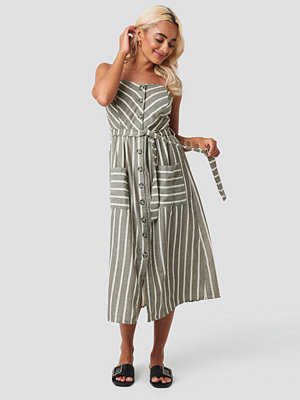 Trendyol Button Linen Midi Dress grå