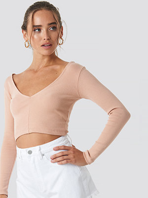 Beyyoglu V Neck Crop Top nude