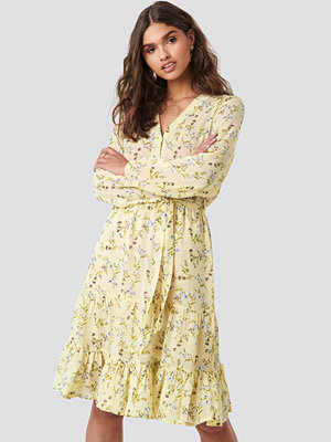 NA-KD Boho Self-Tie Printed Midi Dress beige