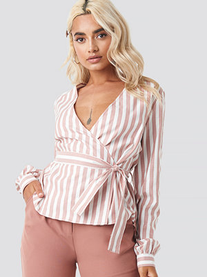 NA-KD Wrap Over Striped Blouse rosa multicolor