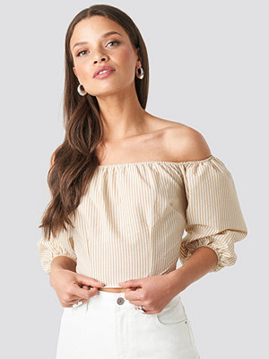 NA-KD Boho Off Shoulder Crop Stripe Top beige