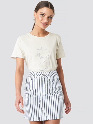 NA-KD Pin Striped Denim Skirt vit