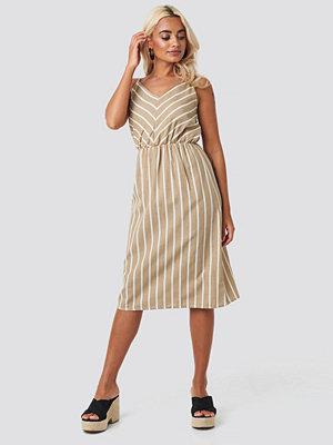 Trendyol Striped Halter Midi Dress beige