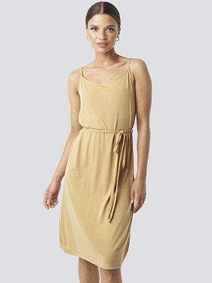 NA-KD Wrap Detail Strap Dress beige