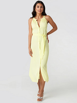 Trendyol Binding Detail Midi Dress gul
