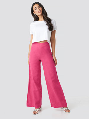 Trendyol High Waist Wide Linen Pants rosa byxor