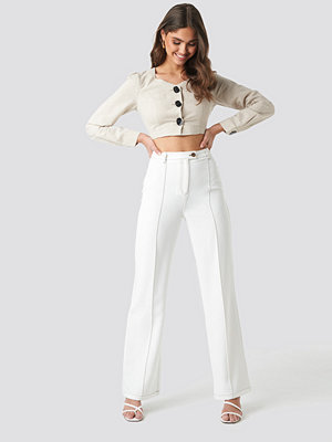 NA-KD Classic vita byxor Contrast Seam Suit Pants vit