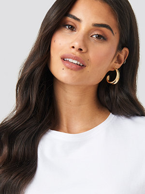 NA-KD Accessories smycke Structured Edge Oval Hoops guld