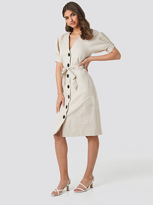 NA-KD Classic Linen Blend Buttoned Dress beige
