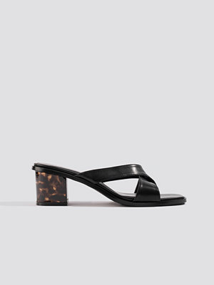 NA-KD Shoes Resin Heel Mules svart