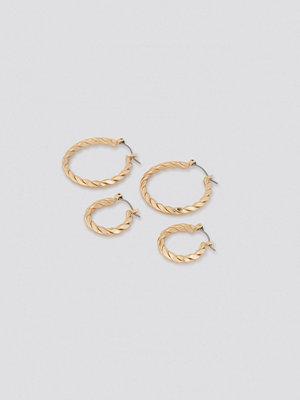 NA-KD Accessories smycke Flat Braided Hoop Earrings (Double Pack) guld