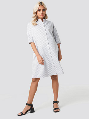 NA-KD Classic Oversized Long Striped Shirt vit grå