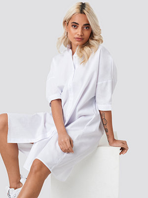 NA-KD Classic Oversized Long Shirt vit