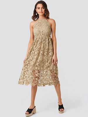 NA-KD Boho Crochet Strap Back Dress beige