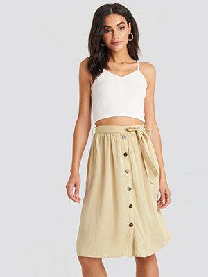 NA-KD Boho Midi Button Front Skirt beige