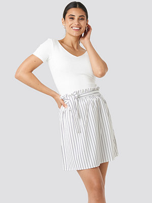 NA-KD Striped Tied Waist Skirt vit