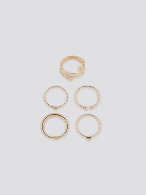 NA-KD Accessories smycke Multipack Fine Hammered Rings guld