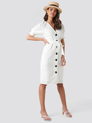 NA-KD Classic Linen Blend Buttoned Dress vit