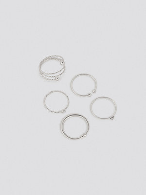 NA-KD Accessories smycke Multipack Fine Hammered Rings silver