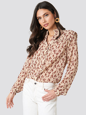 NA-KD Boho Buttoned Flower Print Blouse beige