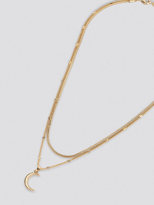 NA-KD Accessories smycke Moon Pendant Double Necklace guld