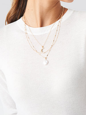 NA-KD Accessories smycke Moon Pearl Layered Necklace guld