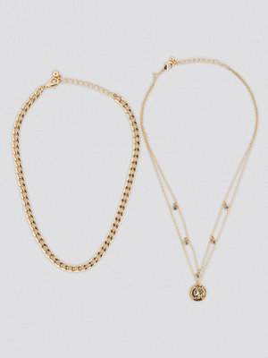 NA-KD Accessories smycke Sparkling Detail Chain Necklace guld