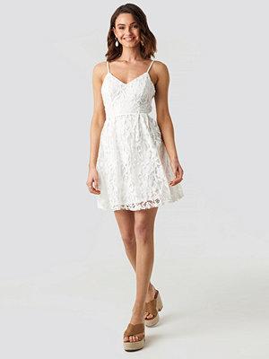 NA-KD Boho Lace Strap Mini Dress vit