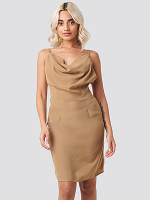 NA-KD Party Cowl Neck Mini Dress beige
