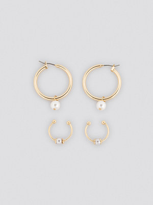 NA-KD Accessories smycke Pearl Detailed Hoop Cuff Set guld