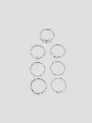 NA-KD Accessories smycke Fine Stacking Rings (7-Pack) silver