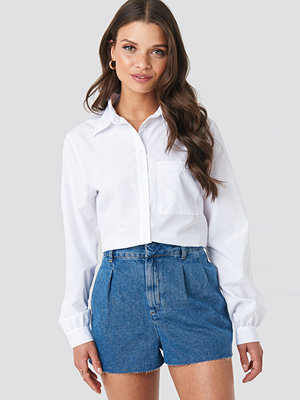 NA-KD Front Pleat Denim Shorts blå